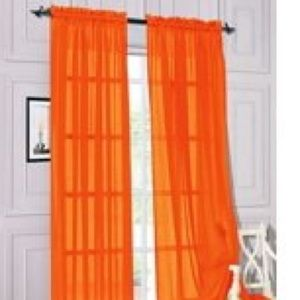 4 panels tangerine window curtains